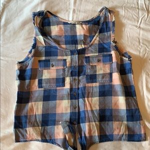Blue and pink madras plaid sleeveless top